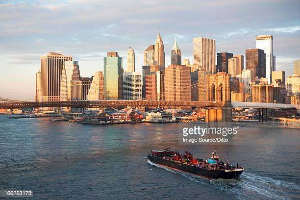 new york city skyline and bridge - barge stock photos and pictures