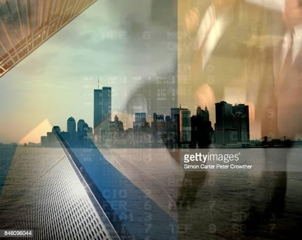 アメリカ、ニューヨーク市、スカイライン、ビジネスマン。