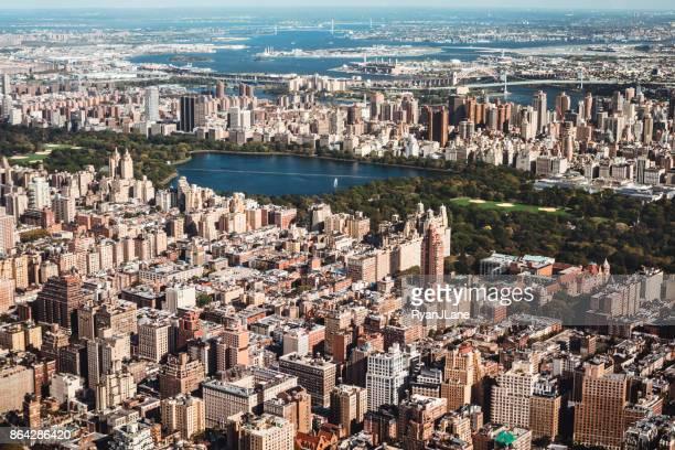 Skyline von New York City und den Central Park Luftbild