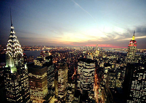 New York City skyline at dusk with the Chrysler Building on