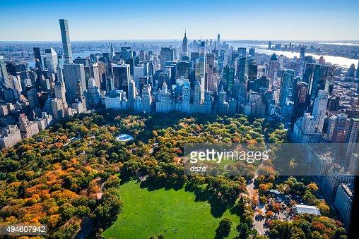 New York City Skyline Central Park Autumn Foliage Aerial