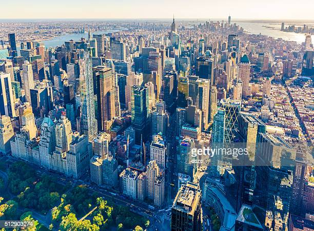 new york city skyline, cityscape, golden hour, aerial view - rockefeller center stock pictures, royalty-free photos & images