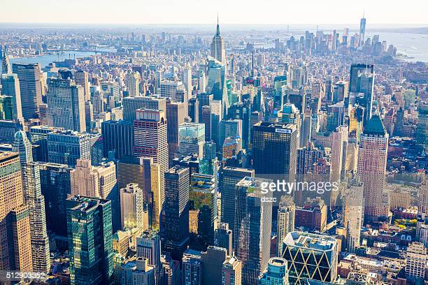New York City Skyline, cityscape, golden hour, aerial view