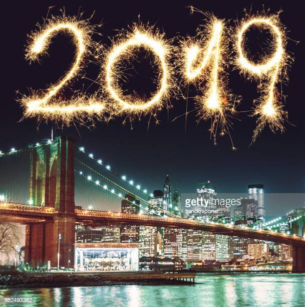 new york city skyline for the new year - 2019 stock pictures, royalty-free photos & images