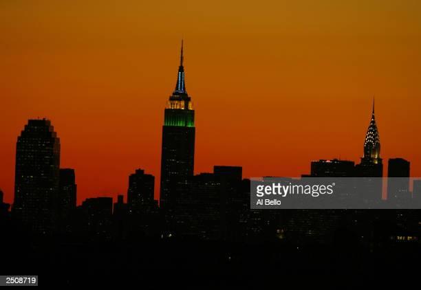 New York City skyline from Arthur Ashe Stadium during the US Open at the USTA National Tennis Center on September 5, 2003 in Flushing, New York.