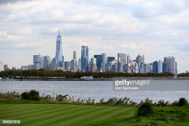 New York City Skyline from the 10th tee during the second round of The Presidents Cup on September 29 at Liberty National Golf Club in Jersey City NJ