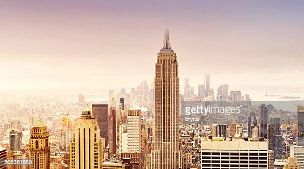 skyline von New York City in weichem sepia Farben