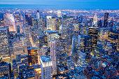 New York City Skyline, Manhattan, Aerial View at Night