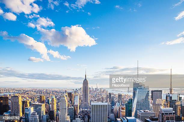 new york city skyline - midtown and empire state building - new york skyline stock photos and pictures