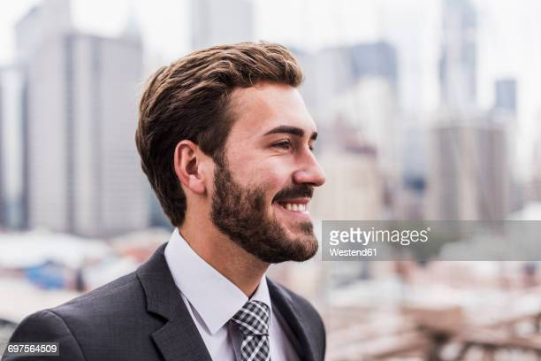 usa, new york city, smiling businessman - profilo vista laterale foto e immagini stock