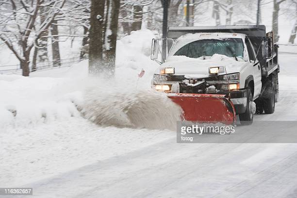 usa, new york city, snowplowing truck - snowplow stock pictures, royalty-free photos & images