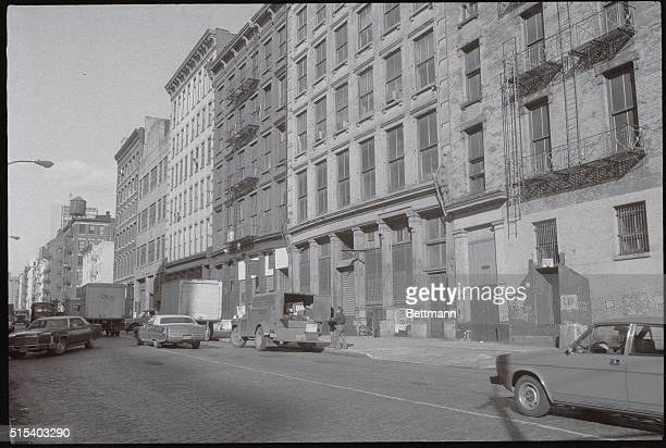 New York City: Soho area in downtown Manhattan shows buildings on west Broadway from Canal street to Houston street. Photo shows cars and trucks on...