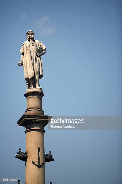 USA, New York City, Statue at Columbus Circle