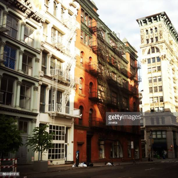 new york - city streets in manhattan - soho new york stock photos and pictures