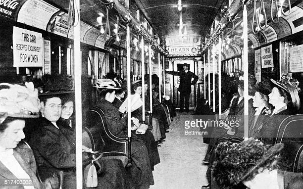 New York City Subway scene interior of women's reserved car on IRT Broadway line 1903 photo