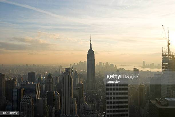 new york city sunset - air pollution stock pictures, royalty-free photos & images