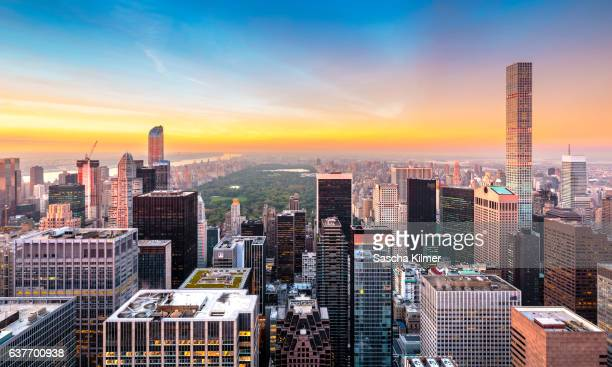 New York City Sunset, with high angle view over Central Park