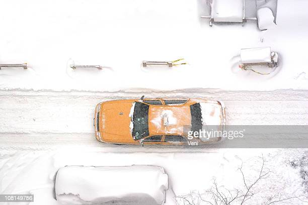 New York City taxi driving in blizzard, aerial