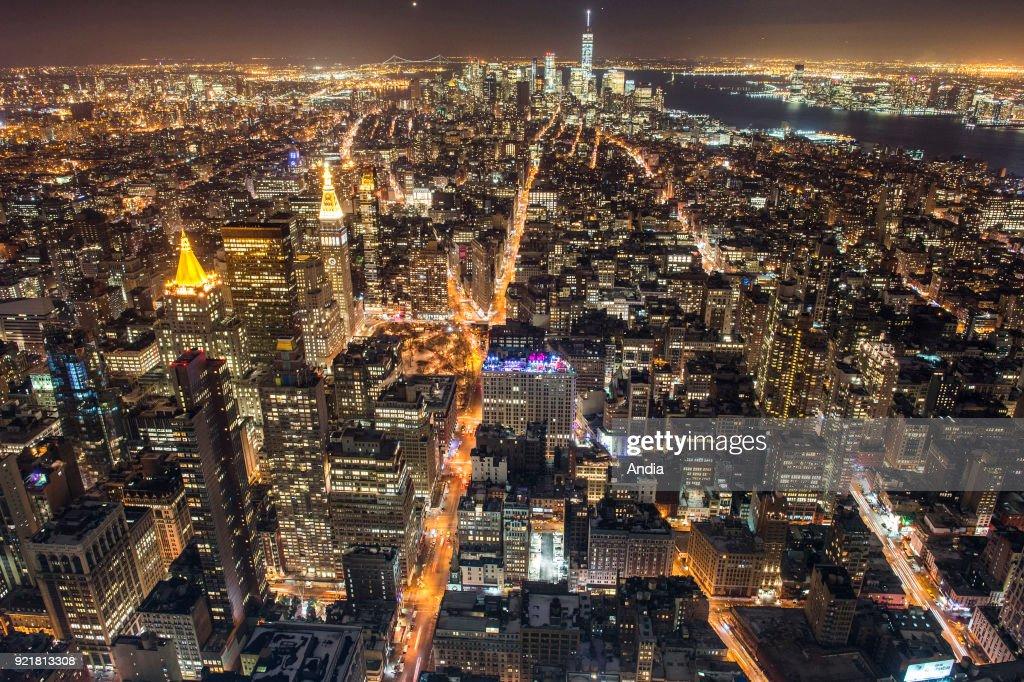 New York City at night. : News Photo