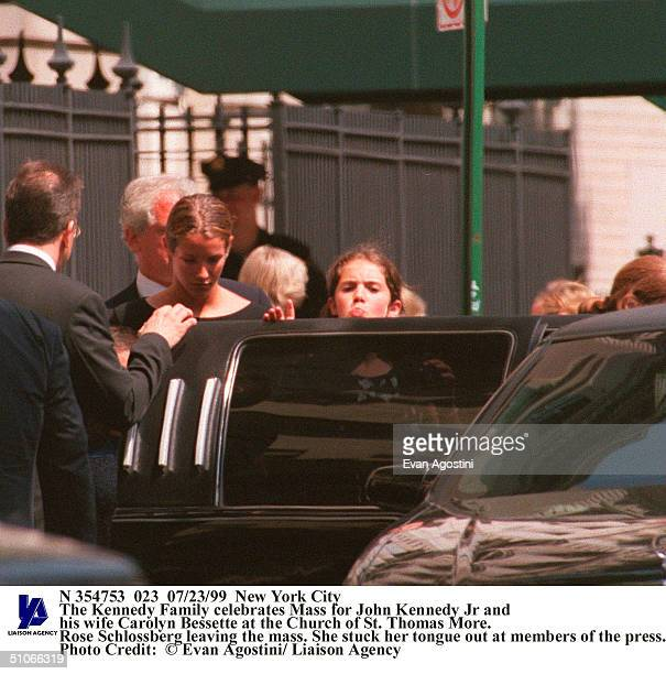 New York City The Kennedy Family Celebrates Mass For John Kennedy Jr And His Wife Carolyn Bessette At The Church Of St Thomas More Rose Schlossberg...