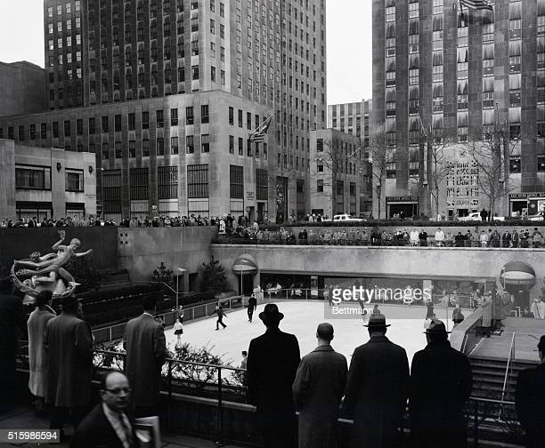 The sunken garden at Rockefeller Center used as a skating rink during cold seasons Undated Photo