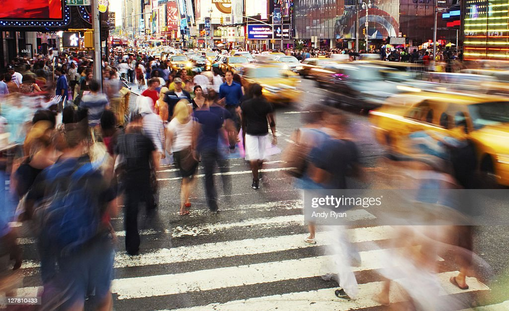 USA, New York City, Time Square, people walking : Photo