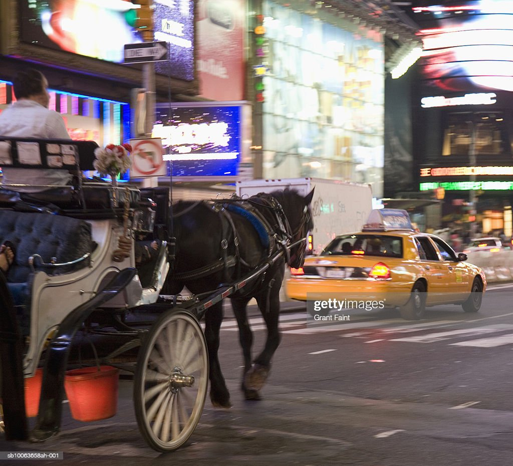 b4882986a63 Usa New York City Times Square Cab And Horsedrawn Carriage In Street ...