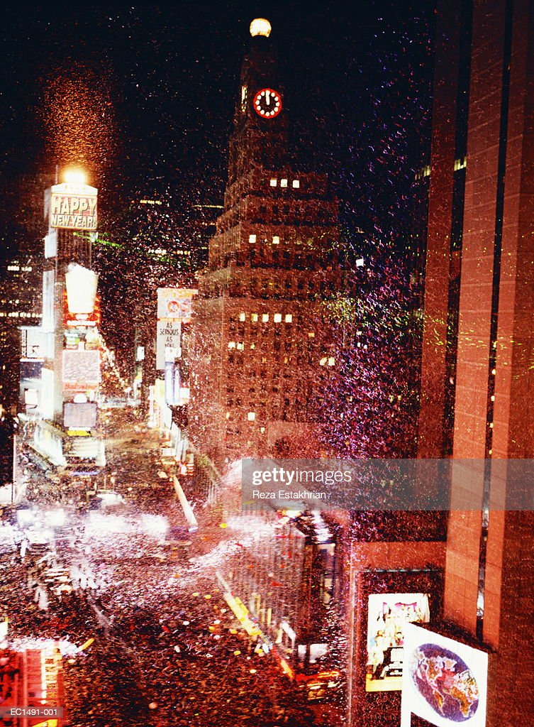 Usa New York City Times Square Fireworks On New Years Eve