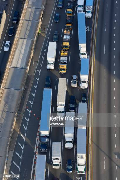 USA, New York City, traffic on highway, aerial view