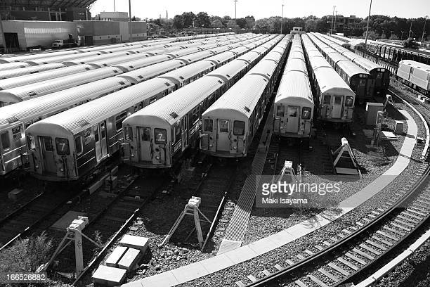 CONTENT] New York City Transit subway cars at the rail depot in Queens NY