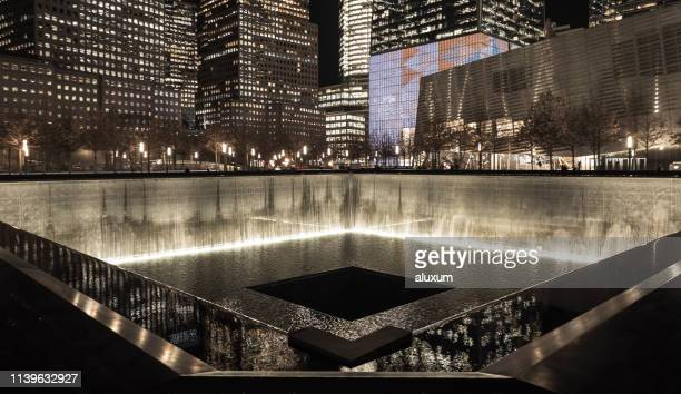 New York City United States of America January 21th 2019 : The National September 11 Memorial & Museum. This memorial of the 9/11 terrorist attacks is located where the Twin Towers stand in the past.