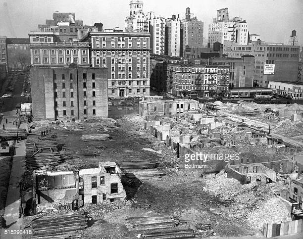 Urban renewal in Harlem Slums make room for buildings 1930's photograph