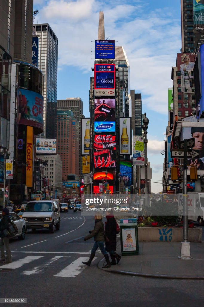 New York City Usa Walking On Broadway Towards Time Square At Almost