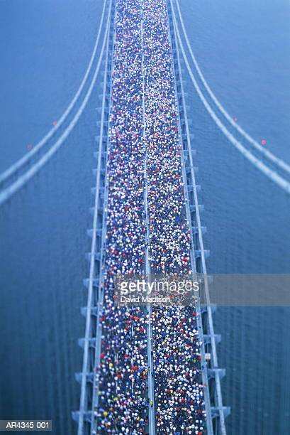 USA, New York City, Verrazano Narrows Bridge, marathon