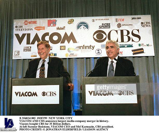 New York City Viacom And Cbs Announce Largest Media Company Merger In History. Viacom Bought Cbs For 35 Billion Dollars. At Left Sumner Redstone,...