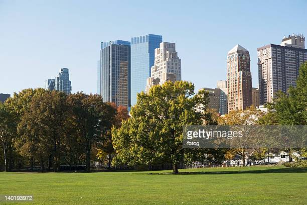 USA, New York City, View of Central Park with Manhattan skyline in background