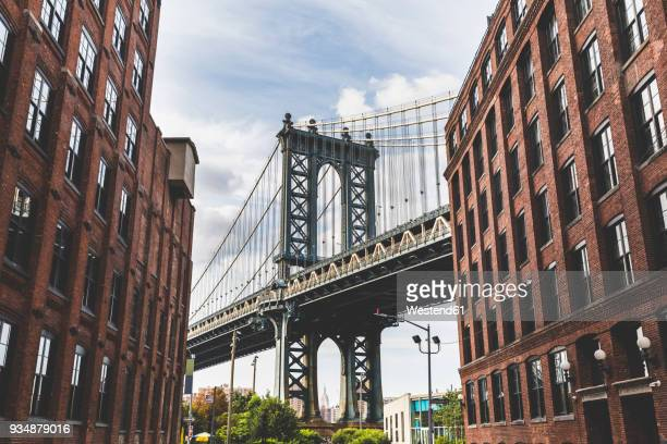 USA, New York City, view to Manhattan Bridge from Brooklyn
