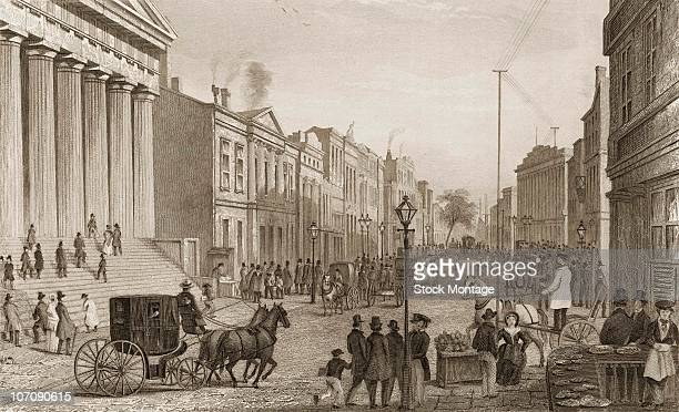 New York City Wall Street viewed from the corner of Broad Street circa 1867