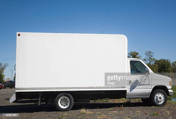 USA, New York City, white truck with blank panel