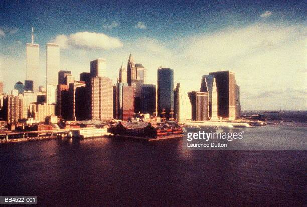 USA, New York City, World Trade Center, view over water (grainy)