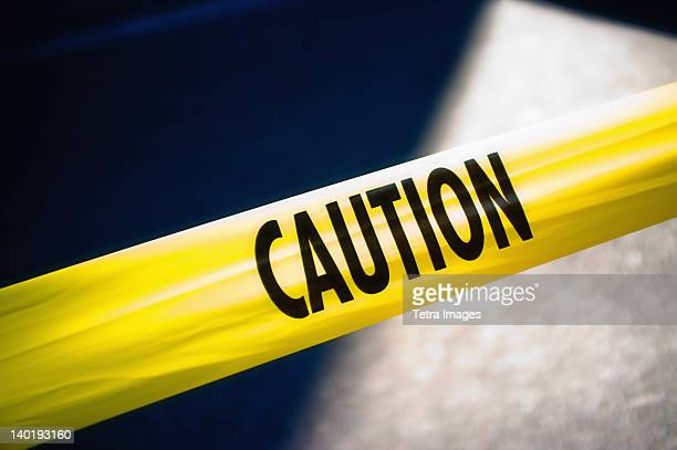 USA, New York City, Yellow caution tape