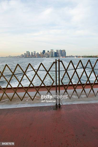 new york city-lower manhattan seen from ferry - staten island ferry stock pictures, royalty-free photos & images