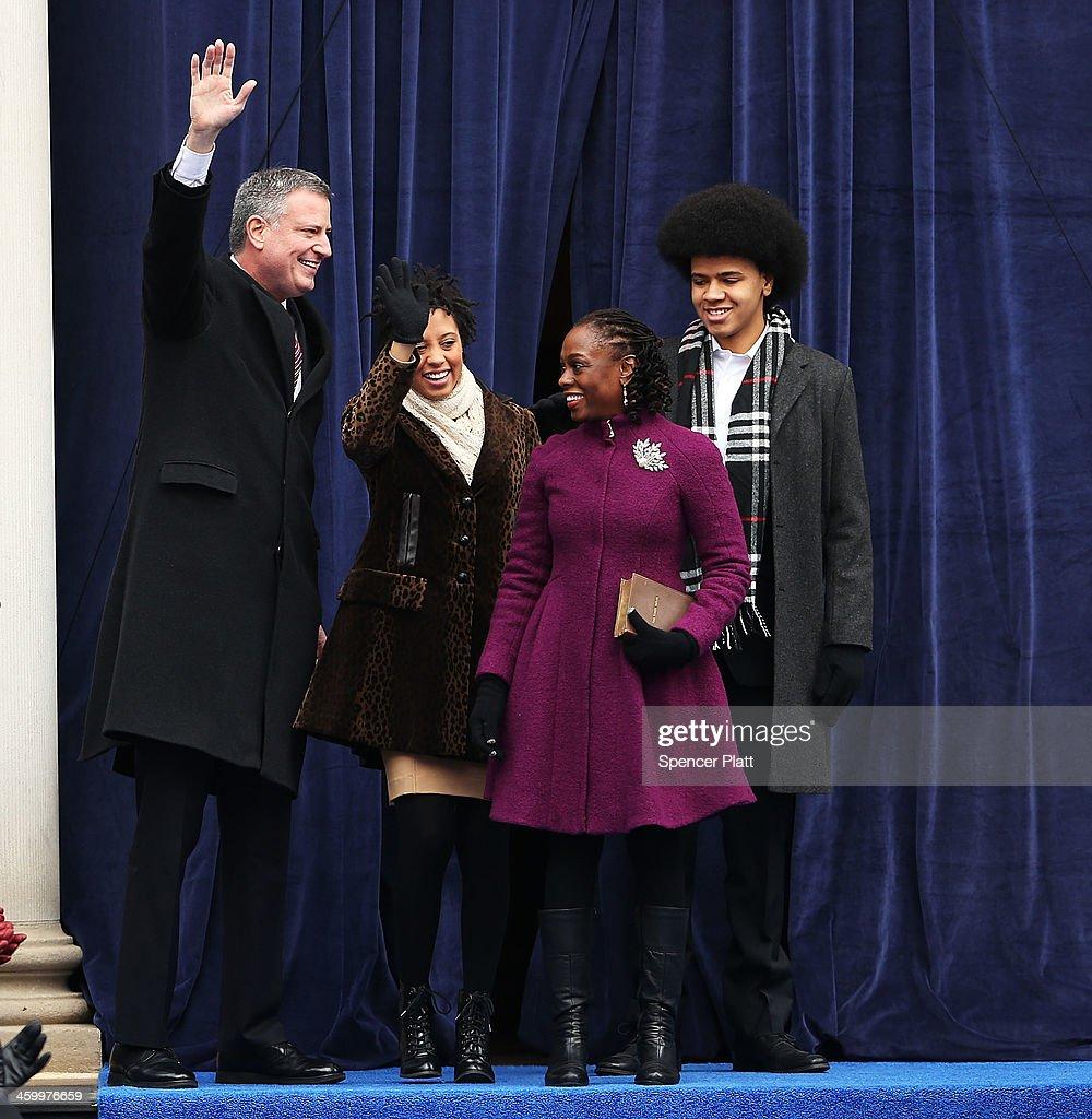 Bill De Blasio Sworn In As New York City Mayor : News Photo