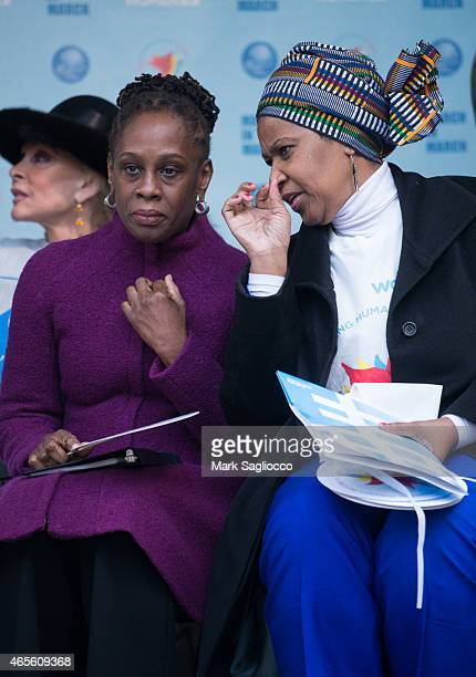 New York City's First Lady Chirlane McCray and Assistant Secretary General Phumzile MlamboNgcuka attend the 2015 International Women's Day March at...