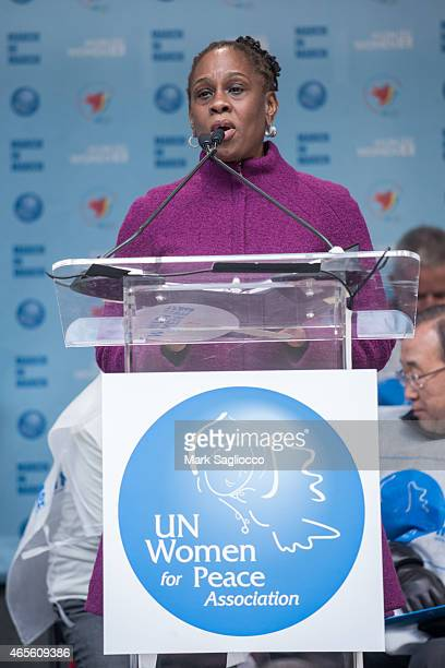 New York City's First Lady Chirlane McCray attends the 2015 International Women's Day March at Dag Hammarskjold Plaza on March 8 2015 in New York City