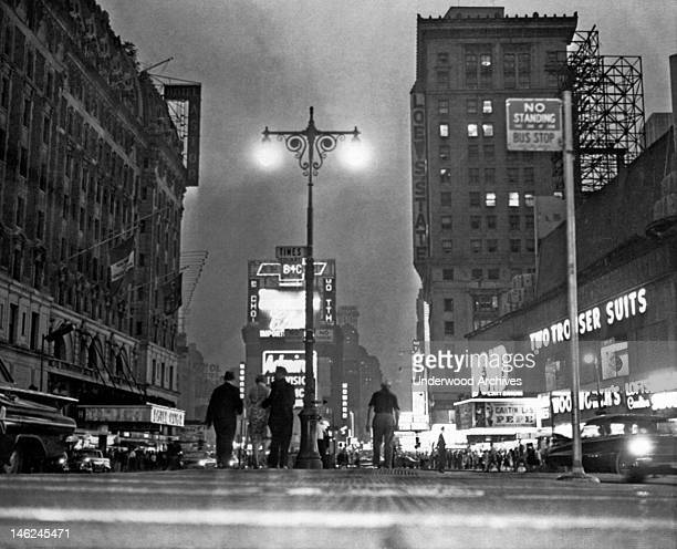 New York City's 'Great White Way' is only half lighted in this view of Broadway during a massive power outage in midtown Manhattan New York New York...