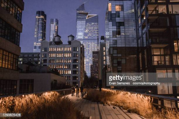 new york city's high line park at night - new york city stock pictures, royalty-free photos & images