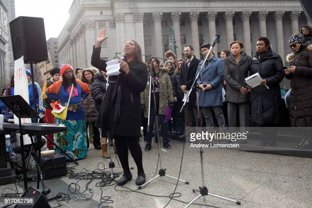 New York City's public advocate Letitia James demands that ICE agents leave the courthouses at a New Sanctuary rally in front of Federal Plaza to...