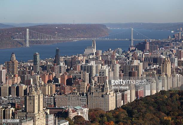 New York City's Upper West Side and the George Washington Bridge are seen from the Top of the Rock observation deck on November 7 2016 in New York...