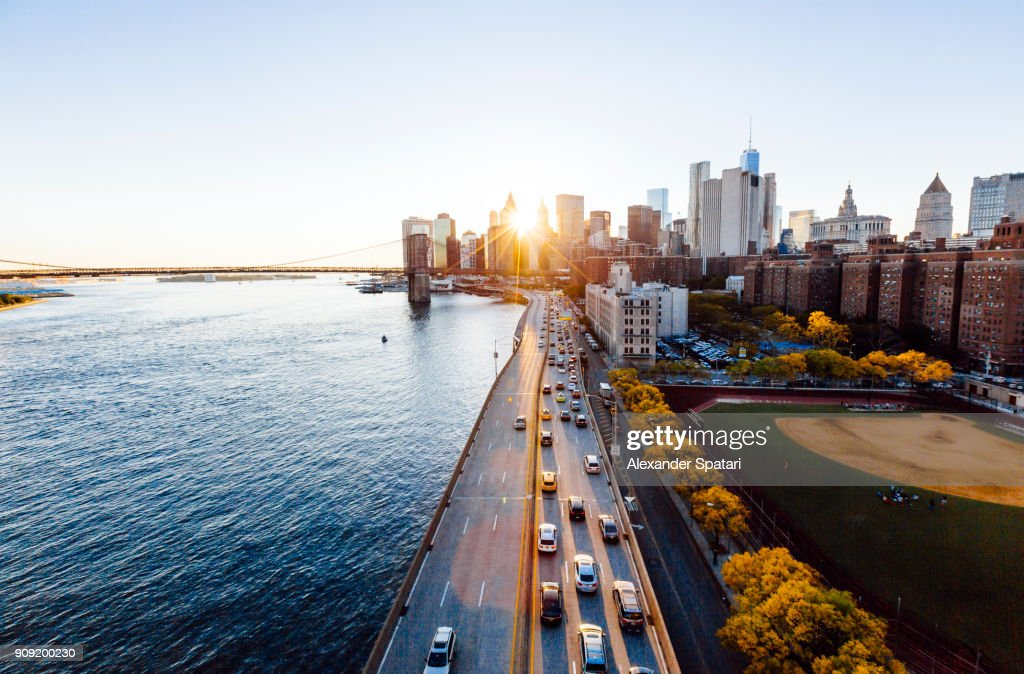New York cityscape elevated view during sunset, New York State, USA : Stock Photo